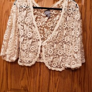 Rabit Rabit beige crochet short waste sweater